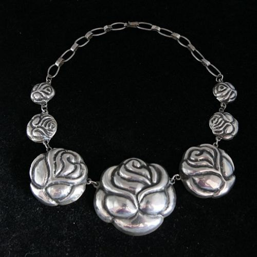 Huge Early Mexican Rosas Repousse Silver Necklace