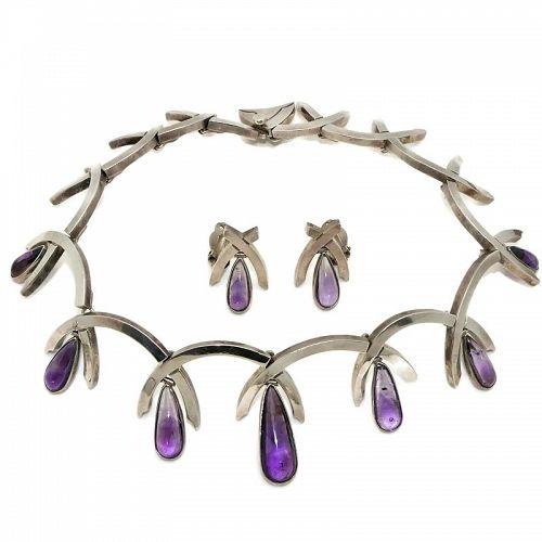 Antonio Pineda Amethyst Teardrops 970 Silver Necklace Earrings Set