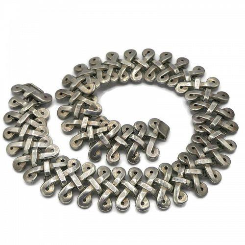 130GR Los Castillo Sterling Silver Taxco Mexican Necklace #731