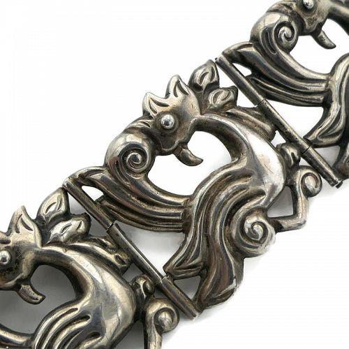 Horatio de la Parra Mexican Repoussé Sterling Silver Bird Bracelet