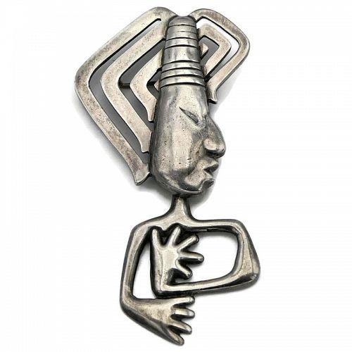 Los Castillo Taxco Mexican Modernist Sterling Silver Dangle Pin #136