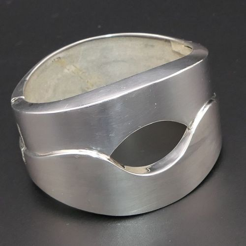 Huge Tane Sterling Silver Mexican Wide Hinged Bracelet 96 Gr