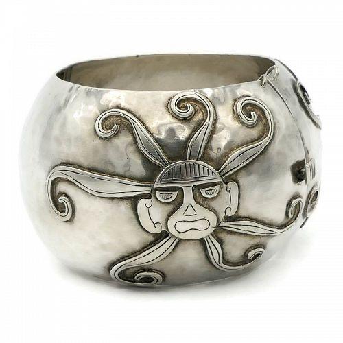 Rare 130Gr Graziella Laffi Peru Sun God Sterling Silver Bracelet