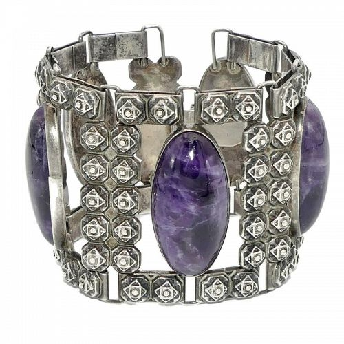 Frederick Davis Oval Amethyst Taxco Mexican Sterling Silver Bracelet