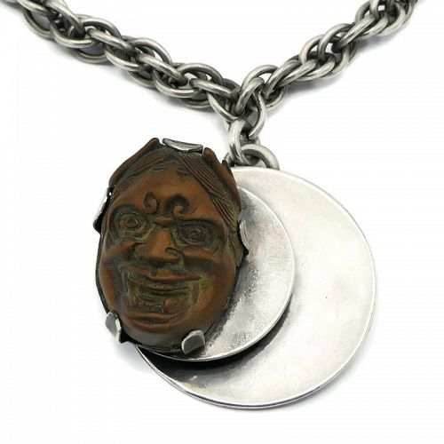 1940's Hurst Kingsbury Modernist Carved Wood Devil Sterling Necklace