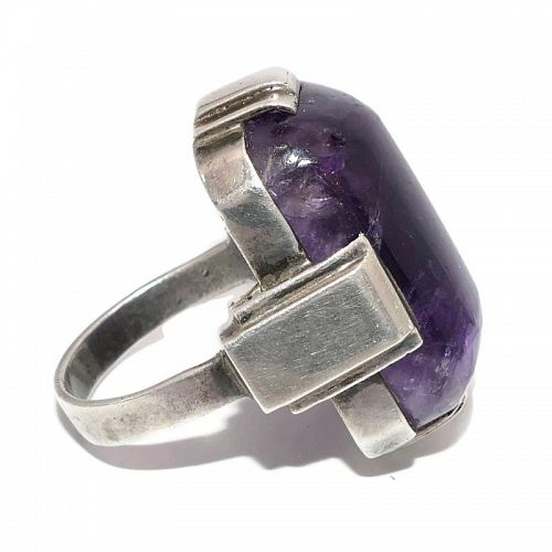 Huge Abraham Paz Amethyst Sterling Silver Deco Design Mexican Ring