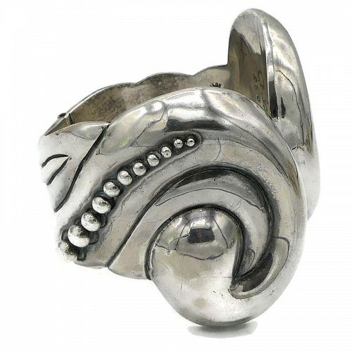 Los Castillo Taxco Repoussé Sterling Silver Clamper Cuff Bracelet #250