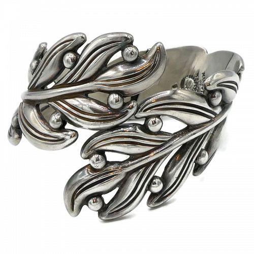 Margot de Taxco Silver Leaves #5474  Sterling Silver Clamper Bracelet