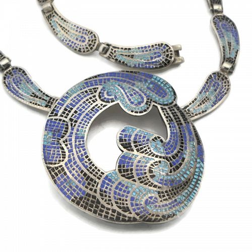 Margot de Taxco Mexican Enamel Mosaic Sterling Silver Necklace #5547