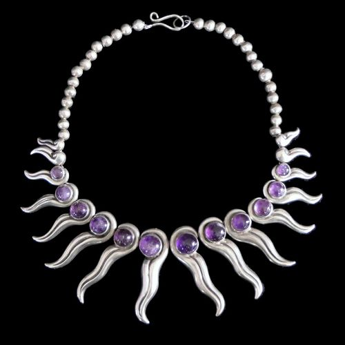 Antonio Pineda Amethyst Repousse Silver Taxco Mexican Necklace
