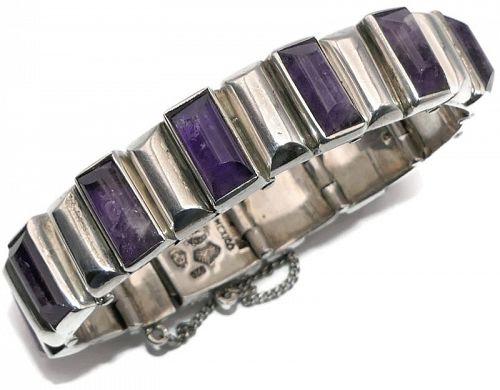 Antonio Pineda Amethyst Bars 970 Silver Taxco Mexican Bracelet