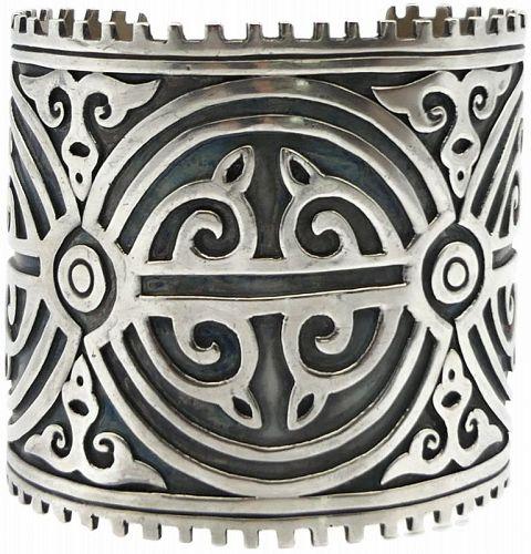 Bernice Goodspeed Huge Taxco Mexican Sterling Silver Cuff Bracelet
