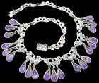 Matl Ricardo Salas Amethyst Dangles Mexican Sterling Silver Necklace