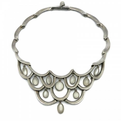 Antonio Pineda Moonstone 970 Silver Taxco Mexican Bib Necklace