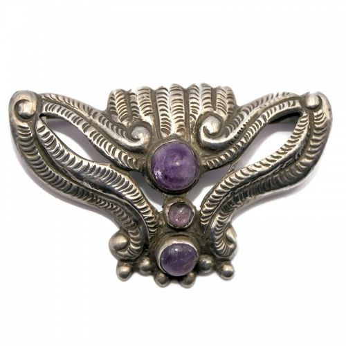 Early Mexico City Amethyst Moth Repoussé Silver Pin