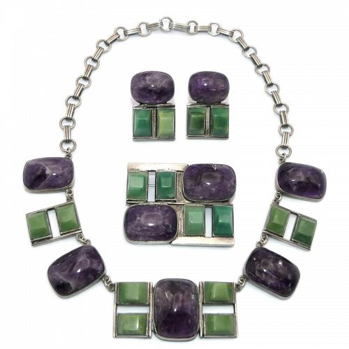 Mexican Amethyst Hardstone Sterling Silver Necklace Pin Earrings