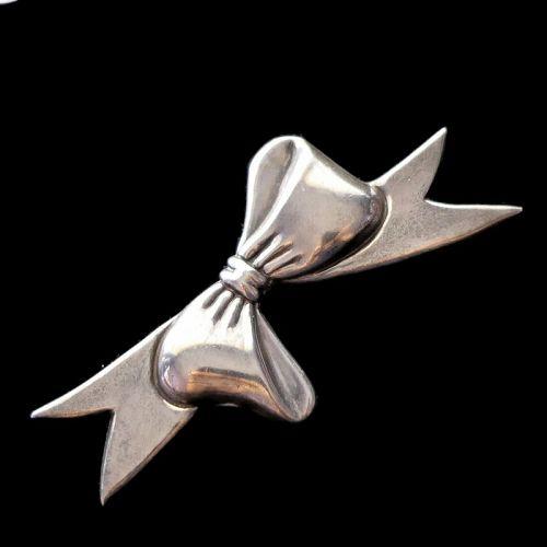 "Rare Hubert Harmon Mexican Sterling Silver Huge Ribbon Pin 4"""
