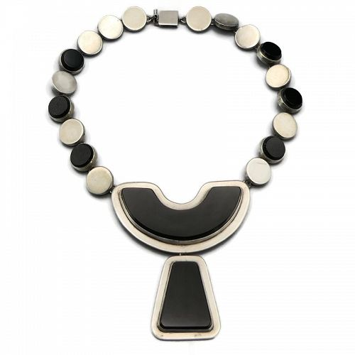 Felipe Martinez Taxco Onyx Sterling Silver Necklace
