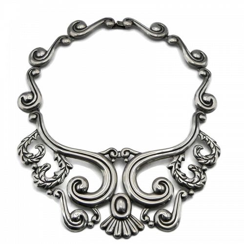 Huge Mexican Repoussé Sterling Silver Pectoral Necklace 16""