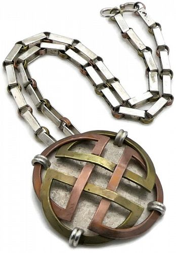 Victoria Taxco Mexican Mixed Metal Celtic Pendant / Pin Necklace 17