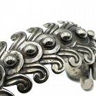 1940's Los Castillo #263 Beaded Swirls Sterling Silver Cuff Bracelet