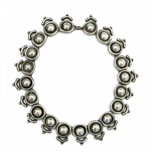 "Antonio Pineda ""Silver by Tono"" Taxco Mexican Silver Domed Necklace"