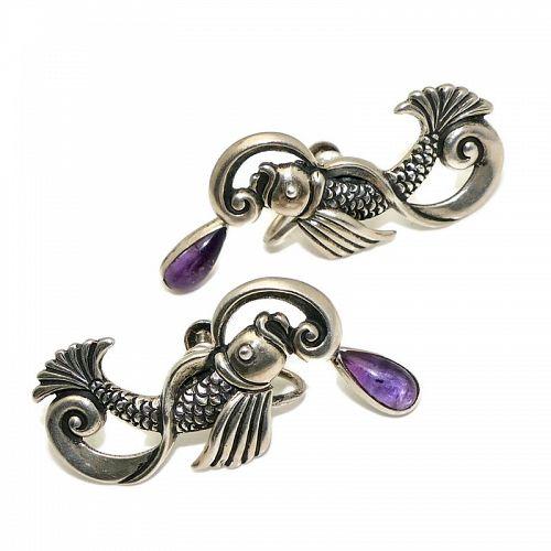 Margot de Taxco Amethyst Repoussé Sterling Silver Koi Earrings #5207