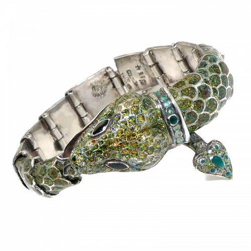 Margot de Taxco #5554 Mexican Enamel Sterling Silver Serpent Bracelet
