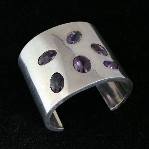 176Gr Antonio Pineda Amethyst 970 Silver Taxco Mexican Cuff Bracelet