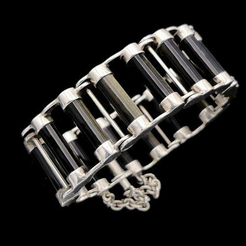 Antonio Pineda Obsidian 970 Silver Taxco Bicycle Chain Bracelet
