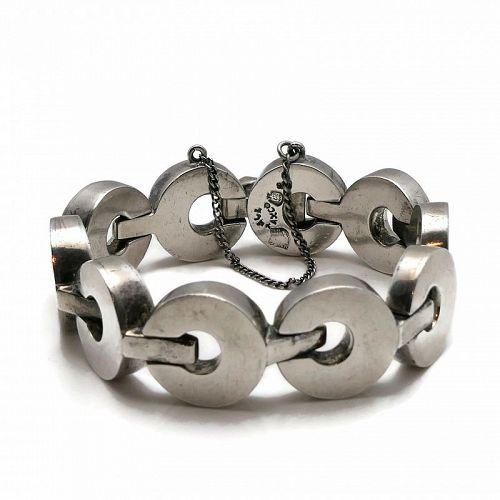 "Antonio Pineda Taxco Mexican 970 Silver Circles Bracelet 7 1/4"""