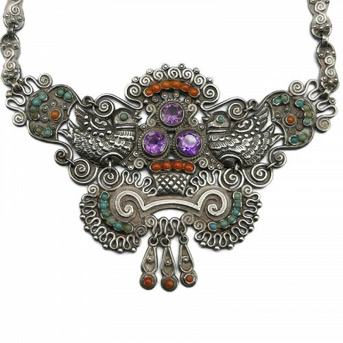 Matl Matilde Poulat Jeweled Palomas Mexican Sterling Silver Necklace