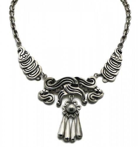 William Spratling 1940's Taxco Mexican 980 Silver Necklace