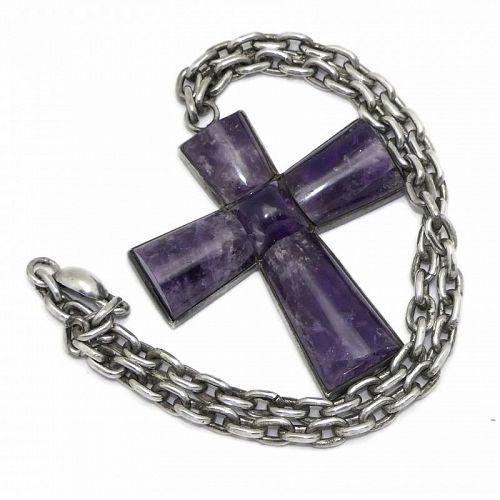 "William Spratling Amethyst Cross Taxco Mexican Silver Necklace 19"""
