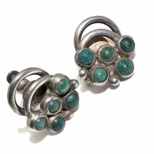 Hector Aguilar Turquoise 940 Silver Taxco Mexican Earrings