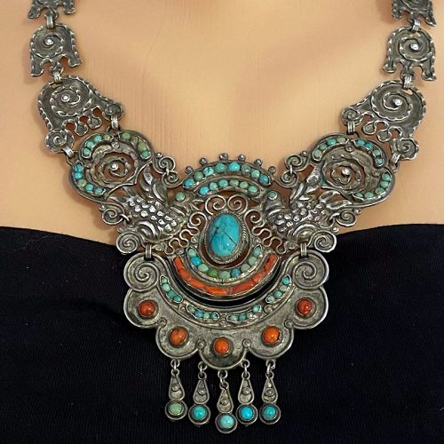 Matl Matilde Poulat Palomas Mexican Jeweled Sterling Silver Necklace
