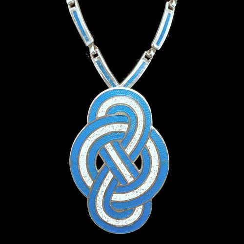 """Margot de Taxco #5840 Enamel Sterling Silver Pendant/Pin Necklace 20"""""""