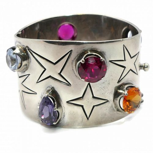 Los Ballesteros Jeweled Stars Taxco Mexican Sterling Silver Bracelet