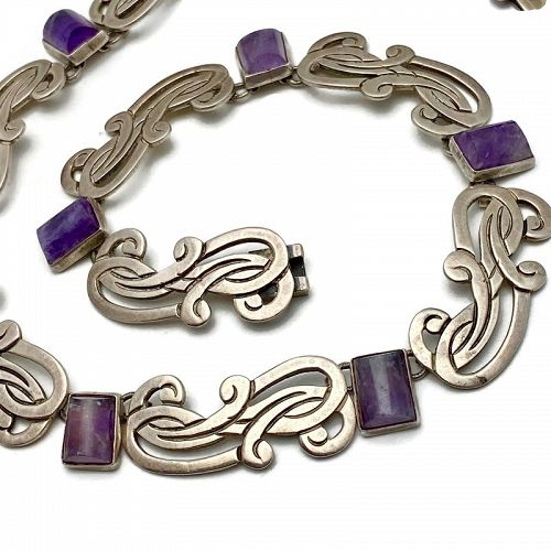 Vintage Beto Taxco Mexican Amethyst Sterling Silver Necklace