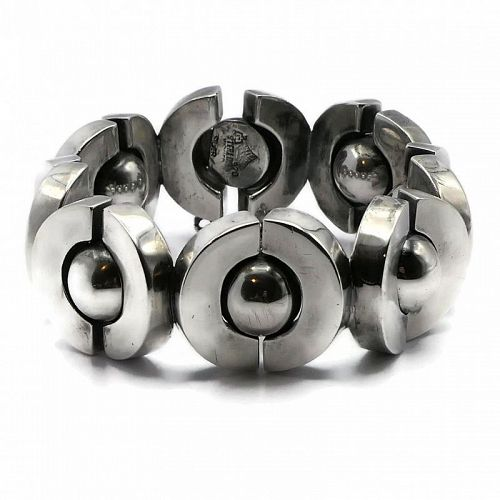Antonio Pineda 970 Silver Saturn Ball Sphere Taxco Mexican Bracelet