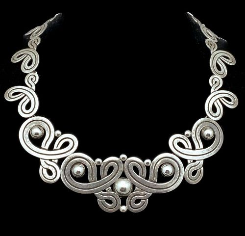 Vintage Taxco Mexican Deco Incised Sterling Silver Necklace