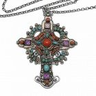 Matl Matilde Poulat Jeweled Cross Sterling Silver Mexican Necklace