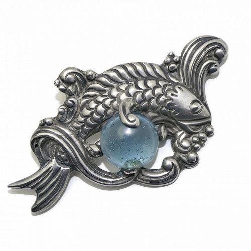 Los Castillo #514 Repoussé Sterling Silver Blue Glass Koi Fish Pin