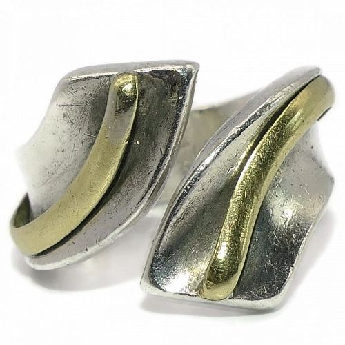 Antonio Pineda Taxco Mexican 970 Silver Modernist Twist Ring