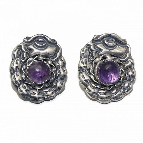 Mexican Amethyst Serpent Repoussé Sterling Silver Earrings