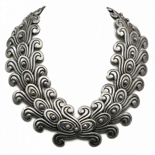 Los Castillo 980 Silver Double Swirl Taxco Mexican Necklace