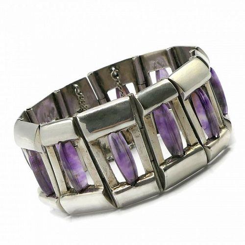 Antonio Pineda Amethyst Trapezoid 970 Silver Taxco Mexican Bracelet