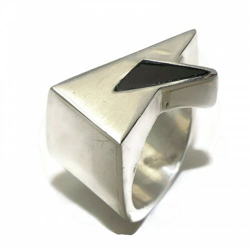 Antonio Pineda Onyx 970 Silver Taxco Mexican Ring