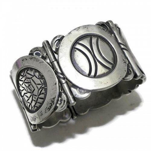 Hector Aguilar 940 Silver Aztec Metal Symbols Taxco Mexican Bracelet