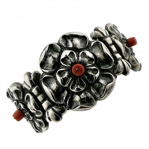 M. Velazquez Mexico City Repoussé Sterling Silver Coral Bracelet